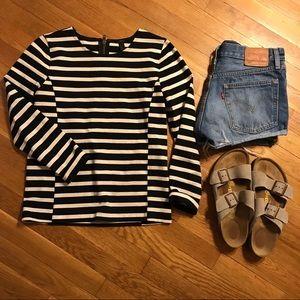 J Crew three quarter sleeve shirt striped zipper